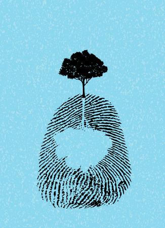 black tree silhouette on fingerprint isolate on sky blue