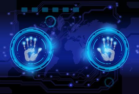 파란색 배경에 스캔 손 인쇄 기술