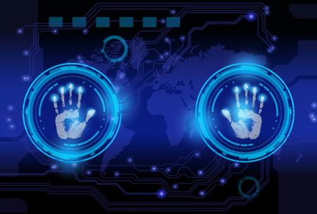 scan hand print technology on blue background  Vector