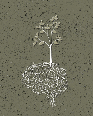 Young plant with brain root, vector