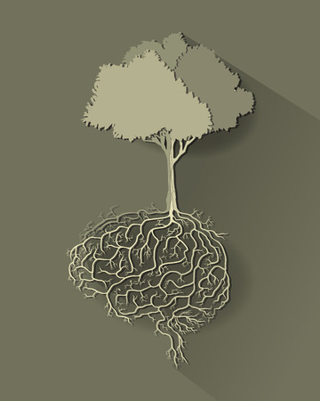tree with brain root, vector style paper cut.