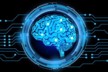 the concept of thinking.background with brain Ilustração