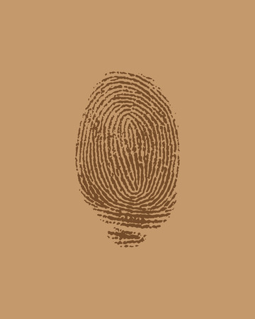 theft proof: vector finger print on brown paper