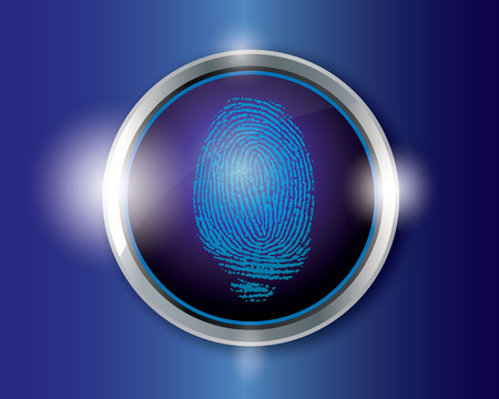 theft proof: vector finger print on button