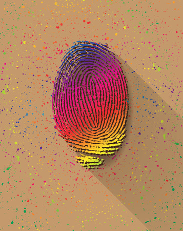 theft proof: Rainbow finger print on colorful pigments background
