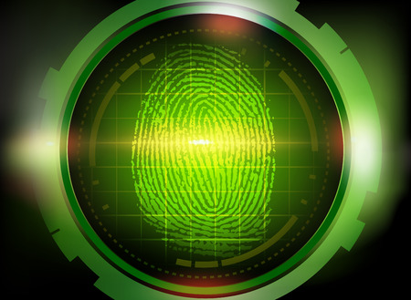 criminal investigation: finger print on scanner Illustration