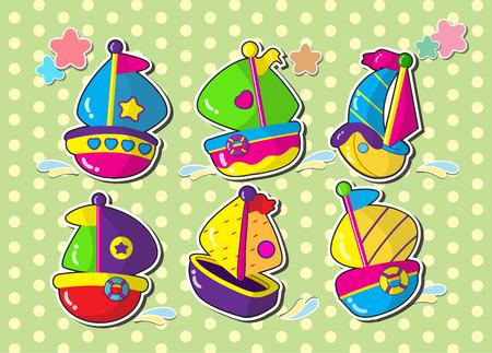 regatta: set of sailboat.vector cartoon style sticker.