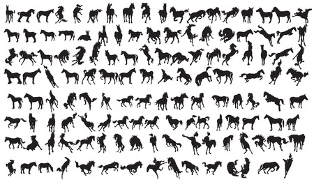 Horse Silhouette Collection.134 character EPS 10. Vector