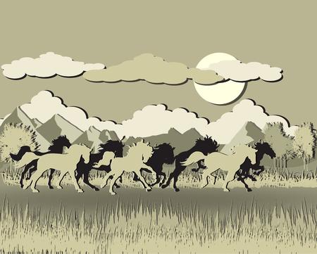 Pferd Silhouette auf Sonnenuntergang background.papercut Stil. Standard-Bild - 31995954