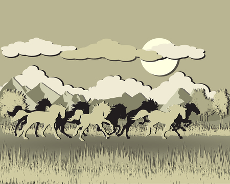 Horse silhouette on sunset background.papercut style.