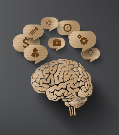corrugated cardboard: Vector Cardboard  of brain and bubble speech with icon. Illustration