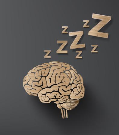 뇌와 수면 개념의 벡터입니다. 정보 그래픽 판지 디자인.