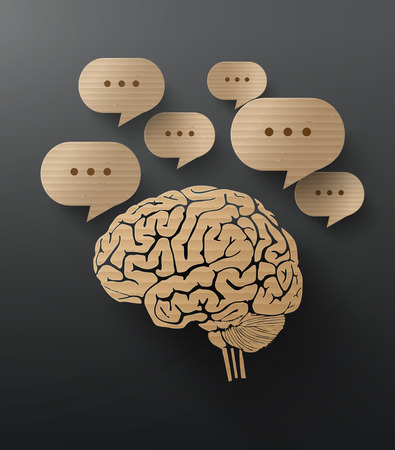 arts system: Abstract cardboard graphics of brain and bubble speech.