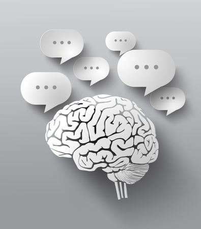 거품 연설과 뇌의 추상 디자인.