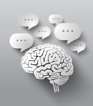 Abstract design of bubble speech and brain.