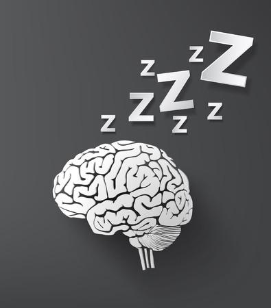 Vektor Schlafkonzept mit Gehirn. Infografik Papier schneiden Stil. Standard-Bild - 31995933