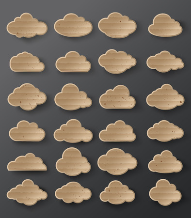 corrugated: Vector illustration of clouds collection.card board style. Illustration