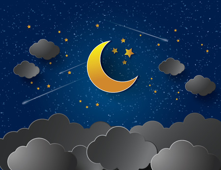luna caricatura: Luna y las estrellas. Vector de papel-arte