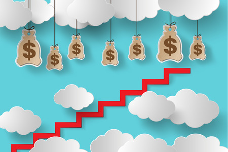 money making: Conceptual vector illustration.Climb the stairs to make money