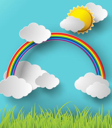 rainbow sky: Abstract paper rainbow on sky.
