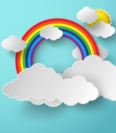 Abstract paper rainbow on sky. Vector