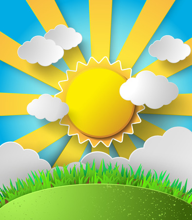 Vector sun with clouds background.paper cut style. Vector