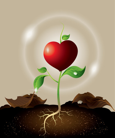 country life: concept of green sprout growing from heart. Illustration