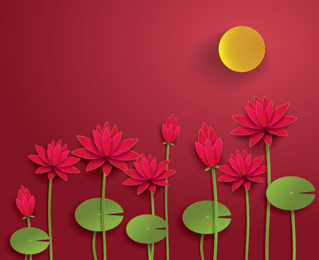 buddism: Vector Paper Lotus. Illustration