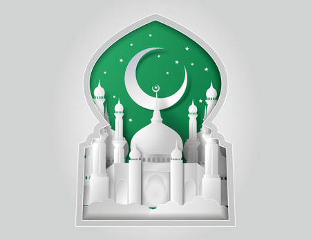 Vector of Paper Mosque. Translation: Ramadan Kareem Фото со стока - 31995791