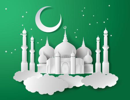 紙のモスクのベクトル。翻訳: ラマダンカリーム