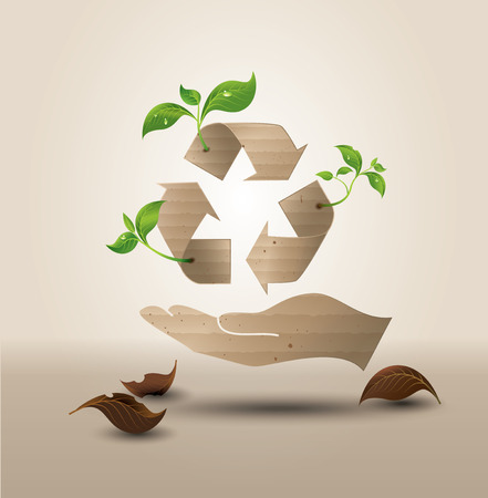 recycle symbol vector: Recycle symbol or sign of conservation . Vector symbol paper cut style Illustration