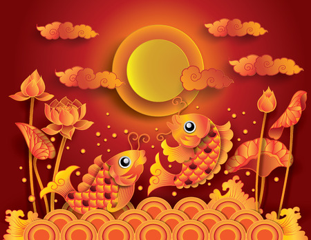 golden fish: Golden koi fish with fullmoon: Mid Autumn Festival (Chuseok)