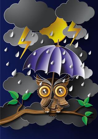 Owl holding an umbrella in the rain. Vector
