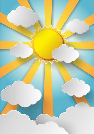 구름과 벡터 태양 background.paper 스타일을 잘라.