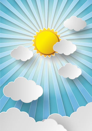 Vector sun with clouds background.