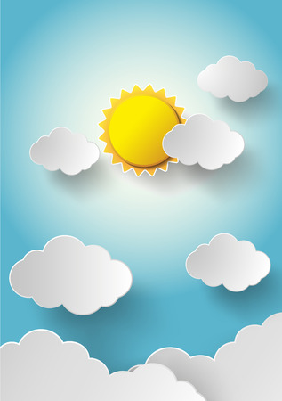 nice weather: Vector sun with clouds background.paper cut style. Illustration