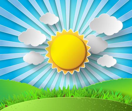 słońce: Wektor słońce z chmurami background.paper wyciętych styl.