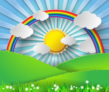 Abstract paper rainbow and sunshine. Vector illustration papercut style.