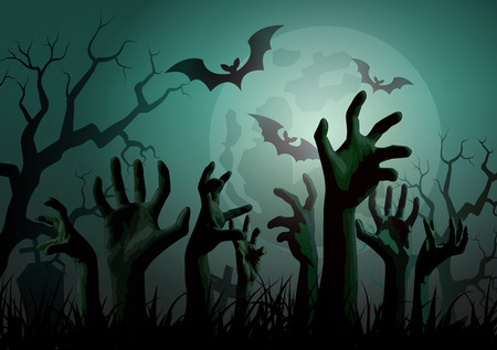 tombstones: Illustration of Halloween Zombie Party.