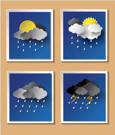 the rainy season: Rainy season background with raindrops and clouds.