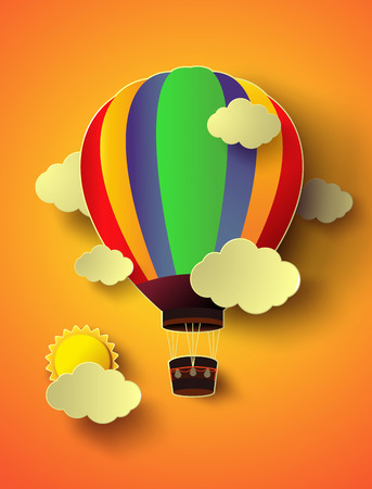 Vector illustration  colorful  hot air balloon with sunset.paper cut style. Vector