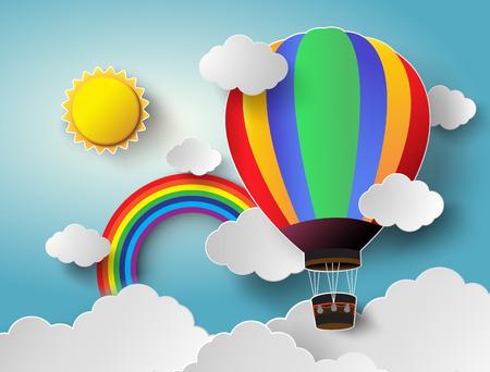 Vector illustratie zonlicht op wolk met hete luchtballon.