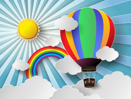 Vector illustration sunlight on cloud with hot air balloon. Фото со стока - 31995546
