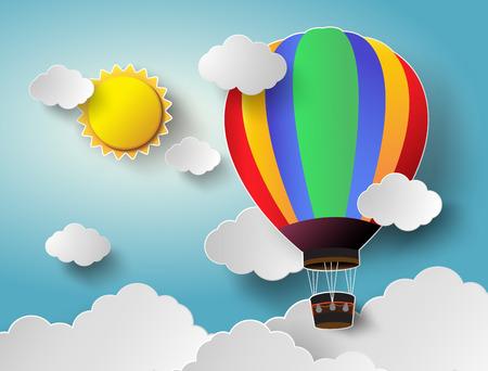 뜨거운 공기 풍선 햇빛을 하늘에서 높은. 벡터 일러스트 레이 션