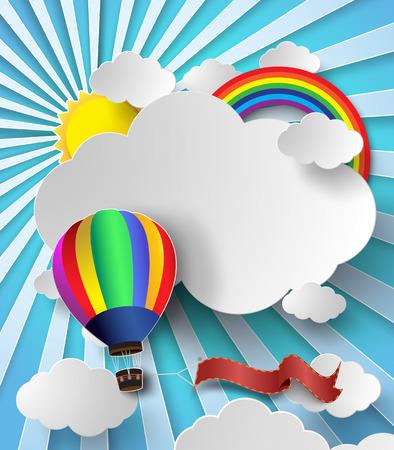 뜨거운 공기 풍선 구름 벡터 일러스트 레이 션 햇빛.