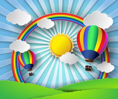 balloon vector: Vector illustration sunlight on cloud with hot air balloon.