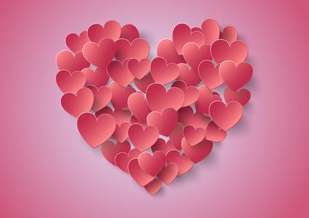그림자 발렌타인 심장 종이 스티커