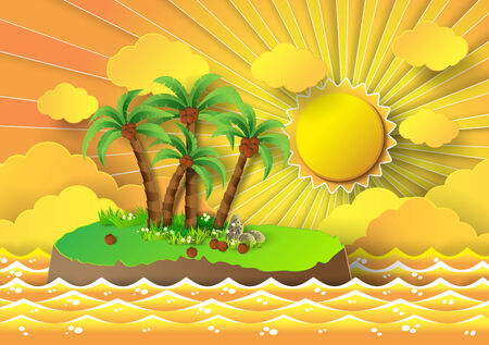 paradisiacal: vector illustration of tropical palm on island with sea and sunbeam.paper cut style.