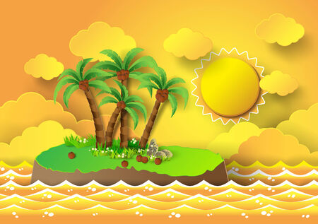 paradisiacal: Tropical palm on island with sea and sunlight.vector illustration.
