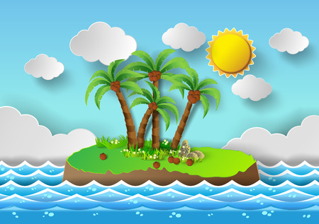 paradisiacal: Tropical palm on island with sea and sun shine.vector illustration.